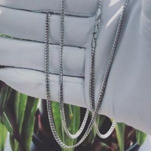Sterling Silver 925 Rhodium Miami Curb Chain